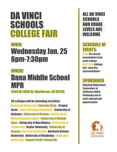 Da Vinci Schools College Fair Jan. 25 2017 flyer